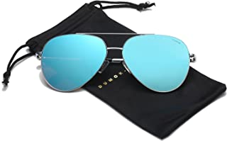 Dumok Aviator Sunglasses Unisex Flat Lens Mirrored Metal Classic Shades DSR003