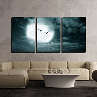 wall26 - 3 Piece Canvas Wall Art - Halloween Background, Full Moon and Sky, Dark Style. - Modern Home Decor Stretched and Framed Ready to Hang - 16