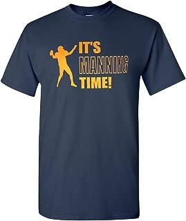 It's Manning Time Peyton Denver Football Broncos Adult Navy Blue T-Shirt Tee
