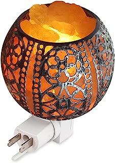 Salt Night Light,Natural Wall Light Salt Lamp with 2 Bulbs, Himalayan Rocks Salt Lamp with Spherical Metal Basket Gift