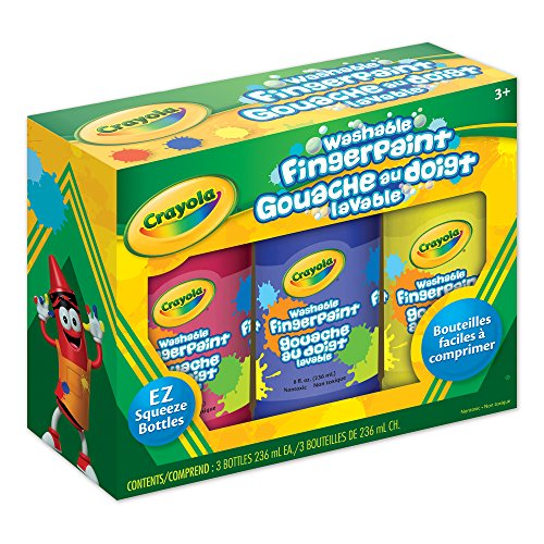Crayola 3 Ct Fingerpaints, School, Craft, Painting and Art Supplies, Kids, Ages 3,4, 5, 6 and Up, Holiday Toys, Stocking...