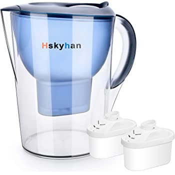Hskyhan Alkaline Water Filter Pitcher - 3.5 Liters Improve PH, 2 Filters Included, BPA Free, 7 Stage Filteration System to Purify, Blue