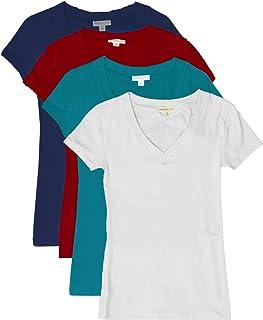 comprar comparacion Top Leggings TL Mujeres de 4o 6Unidades cómodo Basic algodón Manga Corta sólido Cuello en V Camisetas