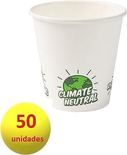 Bionatic Spain Vasos de Carton Blanco con Iconos, ecoloico, Biodegradable y sostenible, Ideal para Fiestas, Eventos, Catering, Picnic, Bodas, barbacoas. 150 ml, 50 Unidades