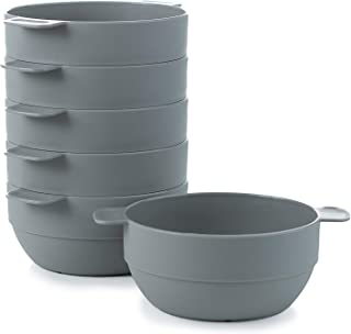 Amuse- Unbreakable & Stackable Bowls < Dessert, Cereal or Ice Cream > - 6 pcs- 16.9 oz (Gray)