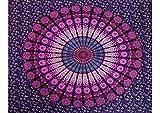 JOVAL - Mandala en circulo Extra Grande (210 x 240cm) para decoración del hogar Estilo Indio con diseños Coloridos para Usar como Mantel o sábana, como Adorno de Pared, útil para Picnic. (Violeta)