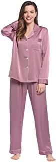 Joyaria Womens Satin Pajama Sets Long Sleeve Button Down Pjs with Pocket Loungewear