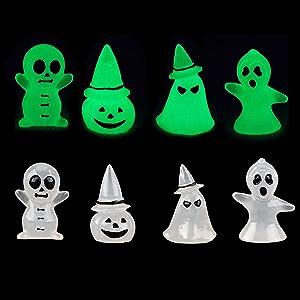 8 Pcs Glow in The Dark Halloween Ghost Miniature Figurine Luminous Halloween Resin Ghost Lawn Decoration Halloween Miniature Ornaments Ghost Decorations for Indoor Outdoor Halloween Garden Decoration