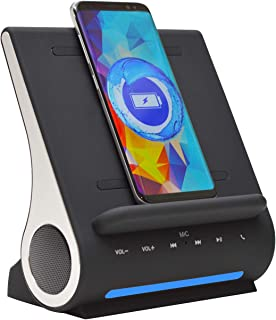 Azpen Dockall D108 Wireless Charging Dock w/Bluetooth Speakers. Qi-Certified Wireless for 7.5W Charging with iPhone Xs Max/XR/XS/S/ 8/ 8Plus/ 10W for Galaxy S10/ S9/ S9+/ S8/ Note 9 - Black