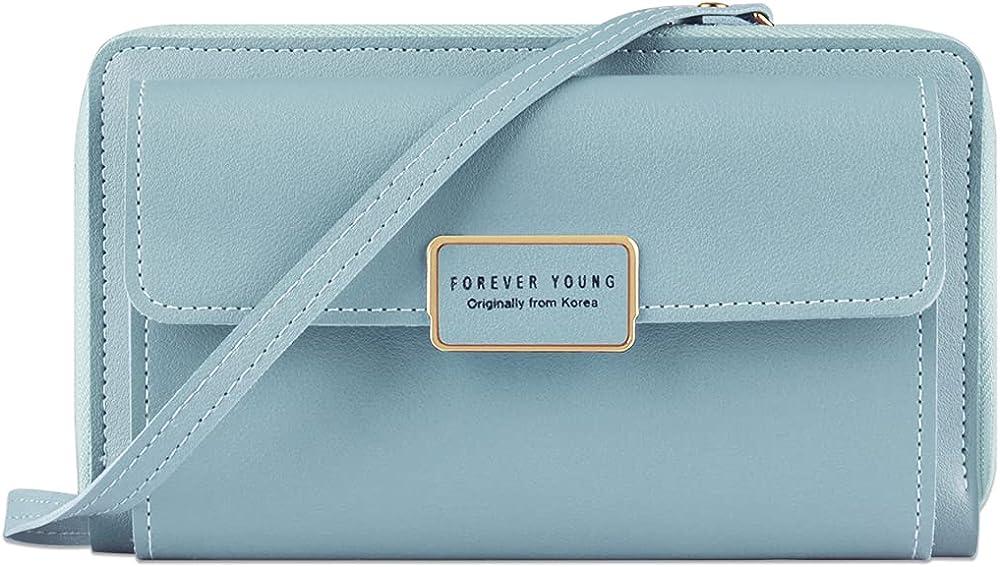 Songjum portafoglio porta carte di credito porta cellulare da donna in pelle sintetica azzurro