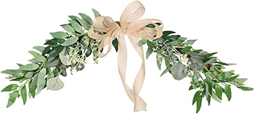 high quality Artificial Eucalyptus Garland Hanging discount Greenery Vines Wreath for Wedding discount Mother's Day Decorations Indoor Outdoor Backdrop Arch Wall Home Décor with Bowtie outlet sale