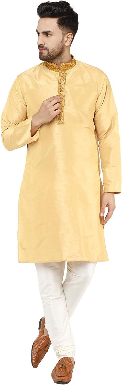 SKAVIJ Mens Kurta Pajama Set Art Silk Wedding Party Dress
