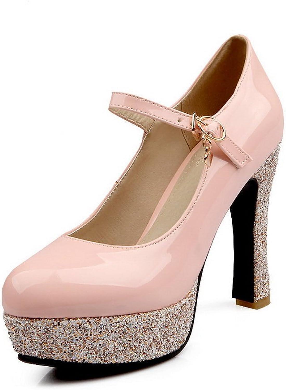BalaMasa Ladies Shiny Heels Soft Material Pumps-shoes
