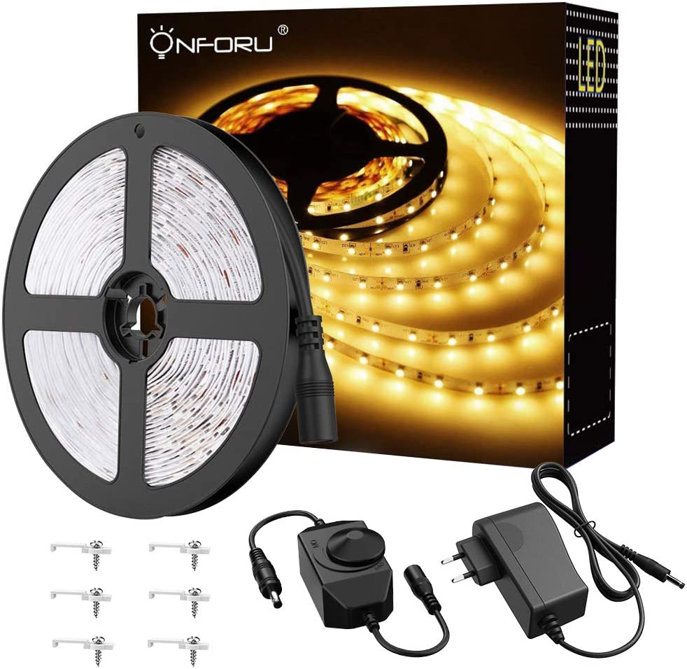 Onforu 5M Luces de Tiras Regulables, Blanco Cálido 3000K Tira LED, 12V LED Strip Light Adhesivas Regulador de Intensidad, 300 LEDs con Adaptador para Habitación Cocina Salón Decoración Interior