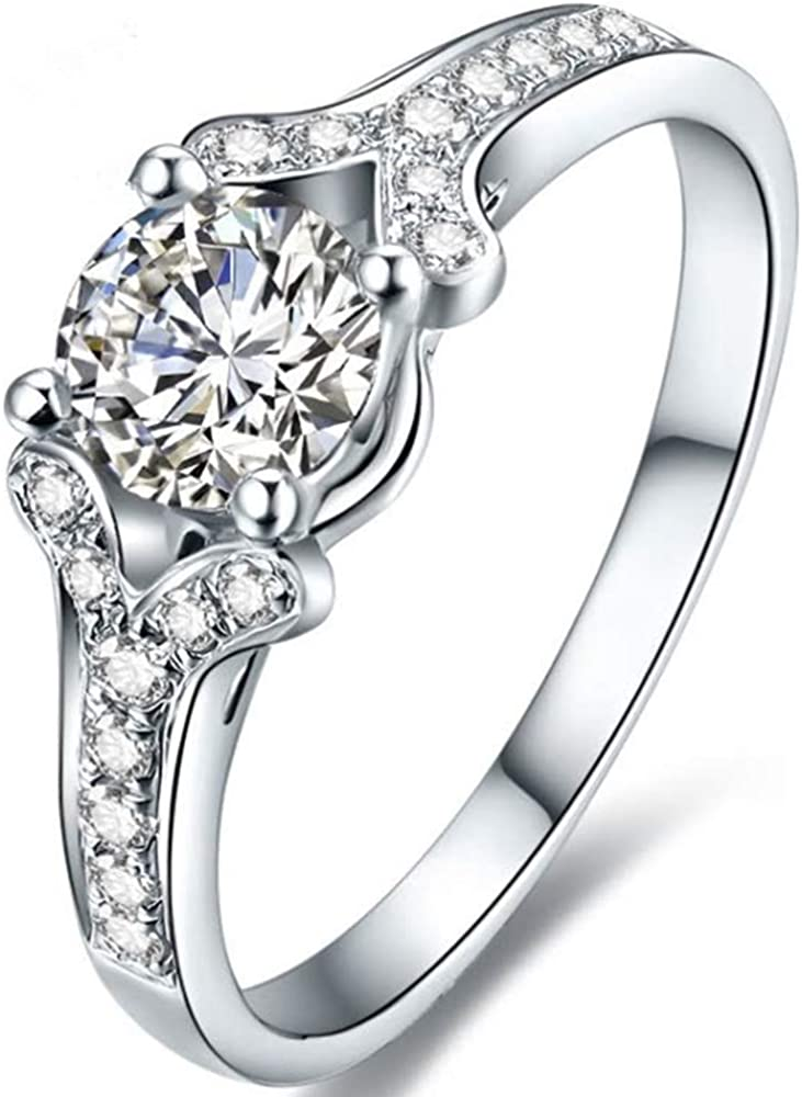 Jude Jewelers Rhodium Plated 1.0 Carat Simulated Diamond Wedding Engagement Proposal Solitaire Ring