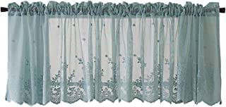 HomeyHo Semi Sheer Half Curtains for Bedroom Windows Semi-Sheer Cafe Curtains for Bedroom Lace Short Small Window Curtain Rod Pocket Cafe Curtains Sheer Window Curtain, 51 x 16 Inch, Blue
