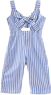 Toddler Baby Girl Clothes Sleeveless Romper Stripe Big Bow Kids Strap Jumpsuit Trousers