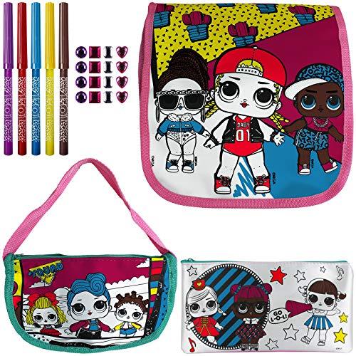 Colour Your Own Bag LOL Surprise 3er Set zum bemalen Handtasche Umhängetasche Federmappe Tragetasche Kinder Tasche