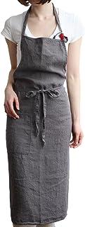 JYPHM Leinen Schürzen für Frauen mit Taschen Küchenschür