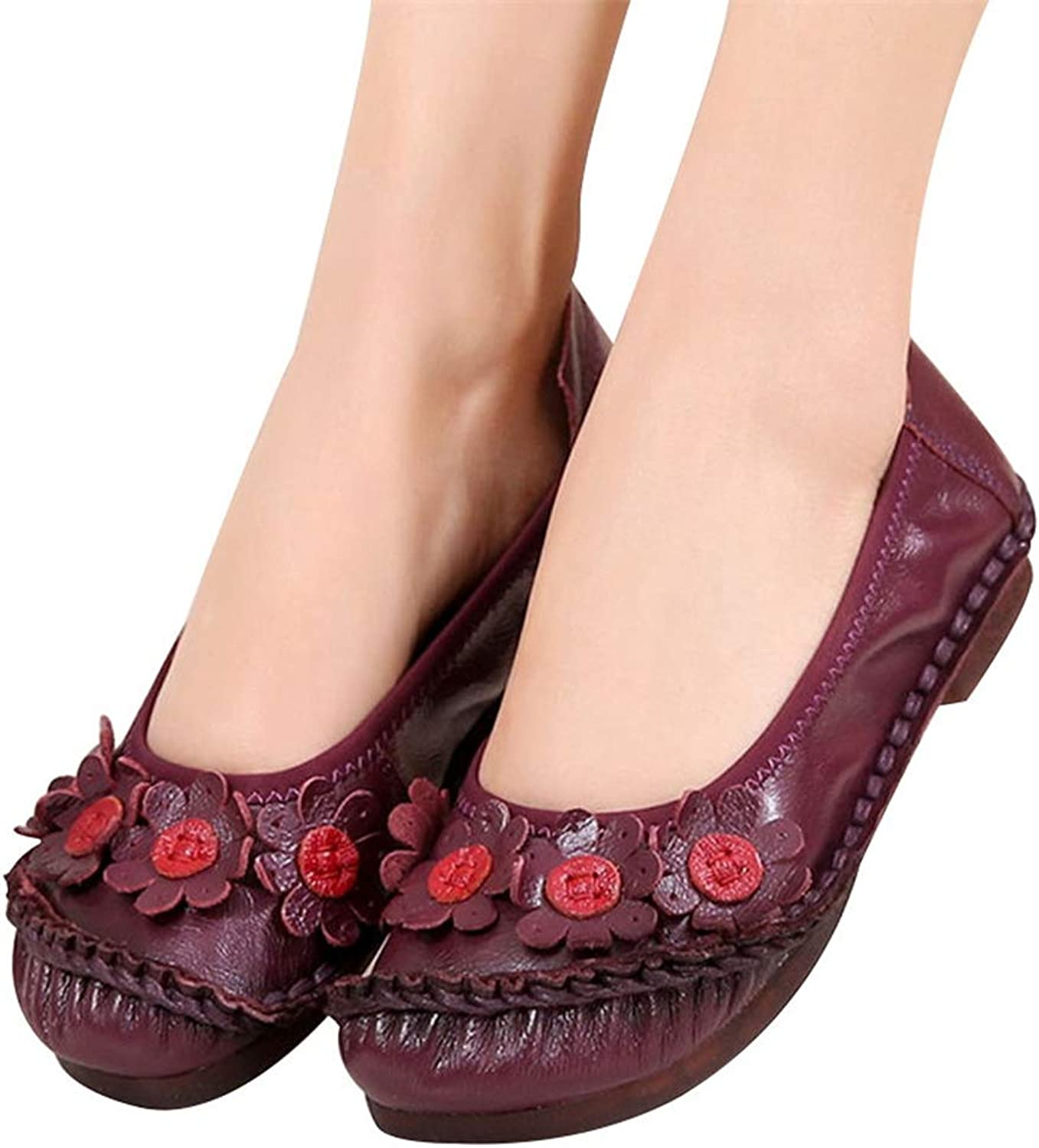 T-JULY Women Flats Handmade Casual shoes Woman Flower Genuine Leather Flat shoes Ballet Flats Women Loafers