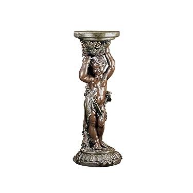 """Design Toscano Sous la Vigne Pedestal Plant Stand, Dimensions: 15"""" Wx15 Dx36 H 43 lbs, Bronze"""