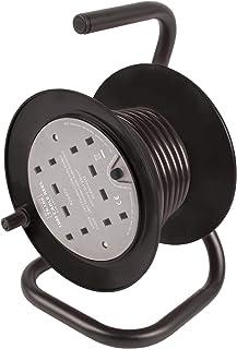 Mercury Compact 4 Way Cable Reel   10m, Black, 10 METRE