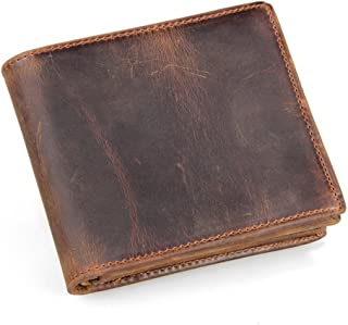 Men's Genuine Leather RFID Blocking Vintage Italian Slim Bifold Handmade Wallet with ID Window and Zipper