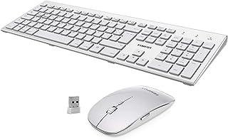 FENIFOX Teclado y Raton inalambrico, diseño ergonómico 2,4 G Teclado inalámbrico y ratón Combinado USB para PC de Escritor...