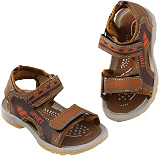 Hopscotch Boys PU Text Print Velcro Open Toe Sandal in Tan Color