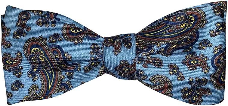 Mens Sky Blue Paisley Cotton Self Tie Bow Tie Adjustable Length Bowtie By The Ellis Tie Company