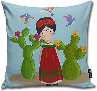 Frida Kahlo - Funda de almohada decorativa para cojín de muñeca, regalo para cumpleaños, boda, pareja, aniversario, graduación, 18 x 18 pulgadas