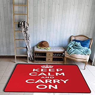 Oversized Floor Rug Keep Calm Red and White Composition with Keep Calm and Carry On Text and a Royal UK Crown Breathability W55 xL72 Red White