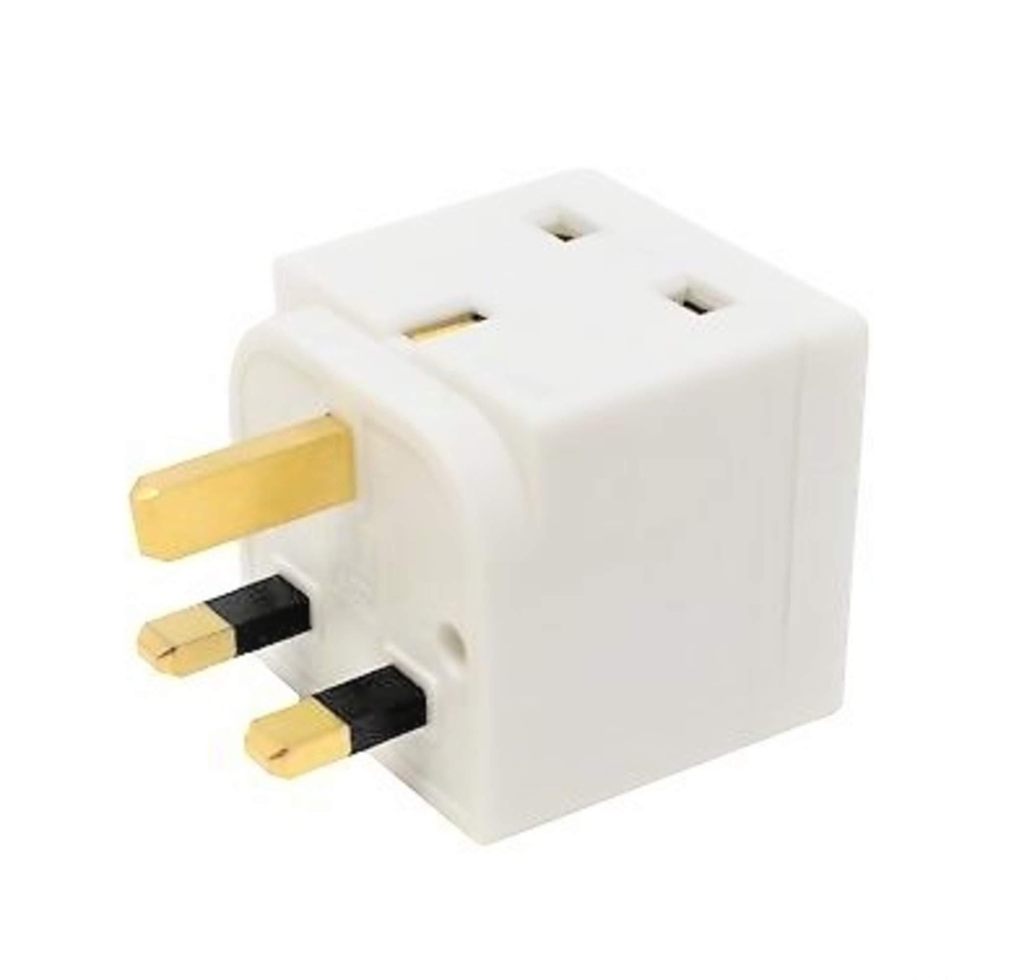 HomeBerg 2 Way Double Plug Adaptor - Multi Plugs Extension Sockets Adapter - UK 3 Pin Socket Extensions 250V 13 Amp - Power Extender Multiplug Block for Kitchen, Office, PC, TV, Indoor Lighting