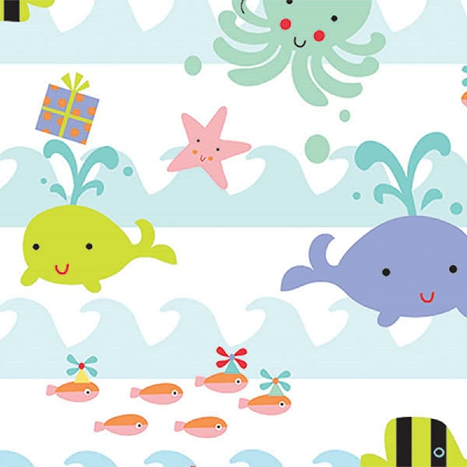 Ocean Sea Babies Birthday Baby Rolled Gift Wrap Paper - 24