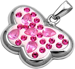 Butterfly Pendant Pink Simulated CZ .925 Sterling Silver Charm - Silver Jewelry Accessories Key Chain Bracelet Necklace Pendants