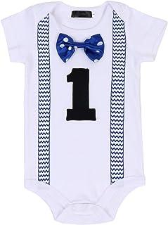 FYMNSI Kleinkinder Baby Jungen 1. Erster Geburtstag Bodys Gentleman Kostüm Fliege Strampler Einteiler Bodysuit Sommer Kurzarm T Shirt Overall 1 Jahr Party Baumwolle Babykleidung