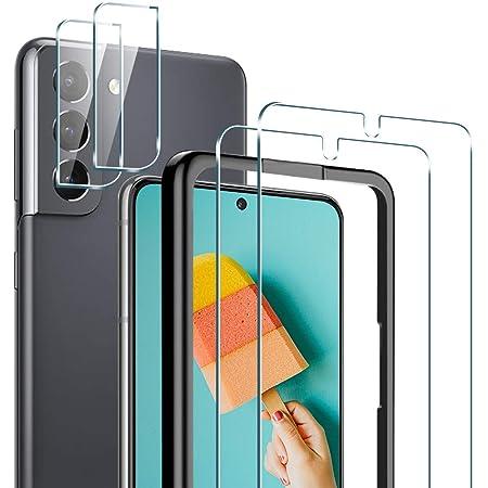 TAURI Schutzfolie Kompatibel Mit Samsung Galaxy S21 und S21 5G 2 St/ück S21 Schutzfolie TPU und 2 St/ück S21 Kamera Panzerglas Fingerabdruck-ID unterst/ützen Blasenfreie Klar HD Folie