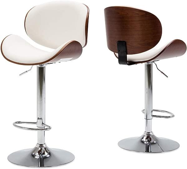 BELLEZE Set Of 2 Contemporary Upholstered Faux Leather Mid Century Walnut Bar Stool Chrome Base Adjustable Swivel Barstool White