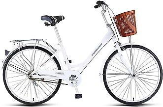 LWZ City Commuter Bike Comfort Cruiser Bikes 24 Inch Single-Speed with Basket Lightweight Road City Bike