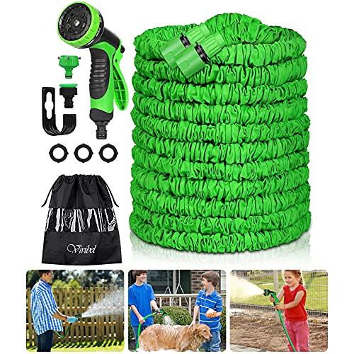 Vivibel Gartenschlauch, Flexibler Gartenschlauch 30m, Dehnbarer Flexschlauch Gartenschlauch, Flexi Gartenteich Schlauch mit 10 Funktion Garten Handbrause für Autowäsche, Gartenbewässerung, Yard