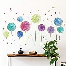 Runtoo Pegatinas de Pared Flores Stickers Adhesivos Vinilo Allium Diente de León Decorativas Salon Dormitorio Habitacion Bebe