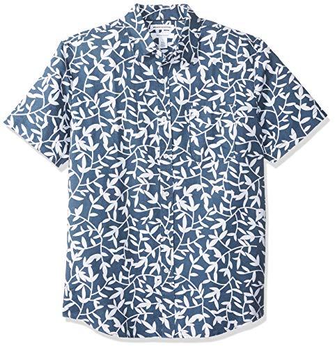 Amazon Essentials - Camisa a cuadros de lino con manga corta para hombre., Diseño hojas azul marino, US L (EU L)