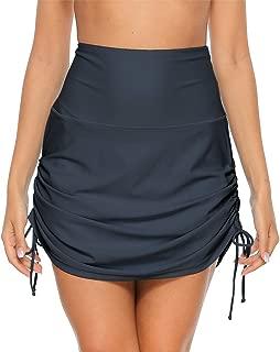 ALove Womens High Waist Bikini Bottom with Panty Drawstring Swim Skirt Bottoms