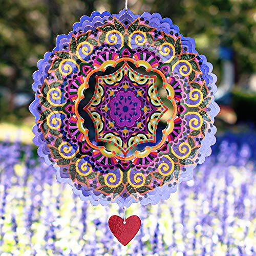 SteadyDoggie Windspiel Mandala Purplerain 30,5 cm - 3D Edelstahl - Laser Cut Metall Kunst Geometrisches Muster - Hängen Wind Spinner, Kinetic Yard Art Dekorationen - Indoor Outdoor Decor
