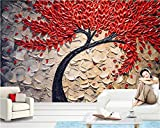 2020 3D Wallpapers Red Fortune Tree Oil Painting Stereo Knife Pen Background Wall Photo Wallpapers Papel de parede-200X140CM
