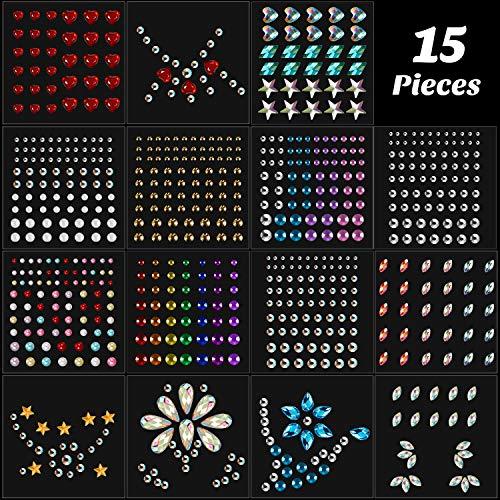 15 Hojas de Gemas de Ojo Cuerpo Cara Pegatinas Autoadhesivas de Diamantes de Imitación de Festival de Joyas Faciales para Mujeres Maquillaje DIY Decoraciones de Uñas