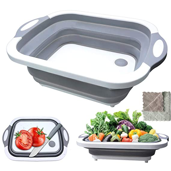 Foldable Cutting Board,HI NINGER Multifunction Chopping Board with Towel, Space Saving 3 in 1 Multifunction Storage Basket, Chopping&Slicing Board for Camping, Picnic, BBQ, Kitchen.