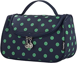 Makeup Bag Polka Dots, Yeiotsy Stylish Travel Toiletry Bag with Brushes Holders for Women Cosmetic Bag Cute (Navy Blue)