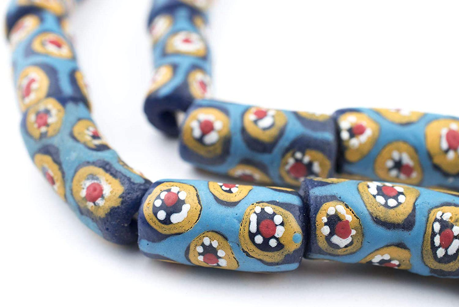 28 BET4125 beautiful spacers great condition Kakamba Bohemian African Trade beads 6 mm wide translucent  aqua and blue 4 mm thick