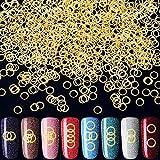 OIIKI - 1000 abalorios de uñas circulares en 3D,...
